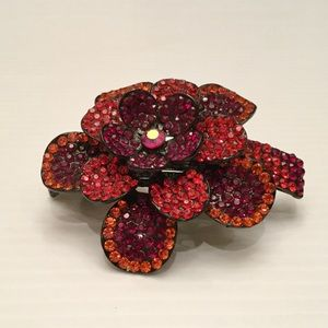 Hair Clip Crystal Jeweled Red Large Size NEW